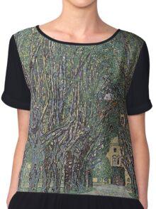 Gustav Klimt - Avenue Of Schloss Kammer Park Chiffon Top