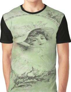 shabby chic,victorian,beautiful young lady,green,rustic,grunge,country chic,old Graphic T-Shirt