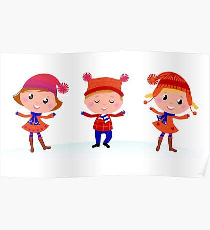 Collection of cute winter children Poster