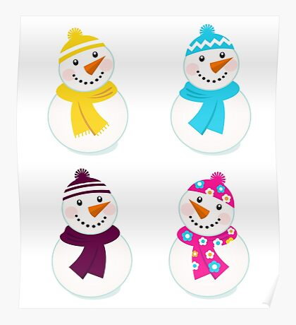 Vector cute snowman collection : just one original illustration Poster