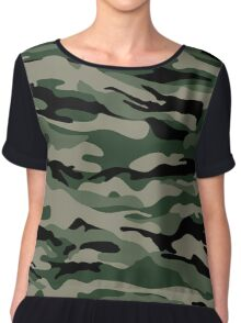 Military Camouflage Chiffon Top