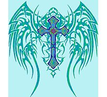 TRIBAL WING CROSS BLUE Photographic Print