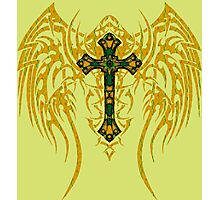 TRIBAL WING CROSS GREEN GOLD Photographic Print