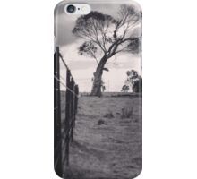 Black and white fence and tree iPhone Case/Skin