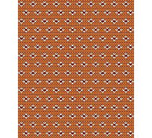 Simple seamless knitting pattern. Autumn orange background.  Photographic Print