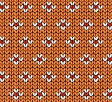 Simple seamless knitting pattern. Autumn orange background.  Sticker