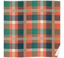 Plaid - Orange, Green, Navy  Poster
