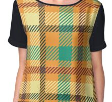 Plaid - Orange, Green, White Chiffon Top