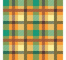 Plaid - Orange, Green, White Photographic Print