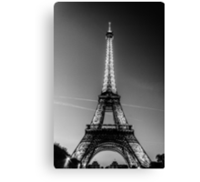 Eiffel Tower and sunset (Black and White) Canvas Print