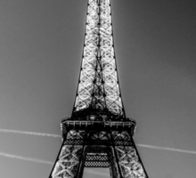 Eiffel Tower and sunset (Black and White) Sticker