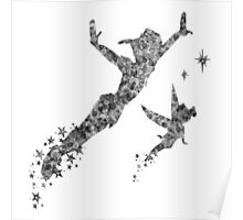 Peter Pan and Tinker Bell in Black and White Poster