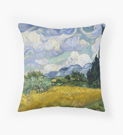 Vincent Van Gogh - Wheatfield with Cypresses Throw Pillow