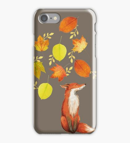 Fall Fox On Grey iPhone Case/Skin