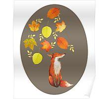 Fall Fox On Grey Poster