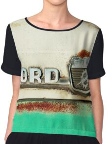 Turquoise Rusted Ford F100 Chiffon Top