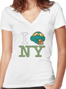 New York Mikey  Women's Fitted V-Neck T-Shirt