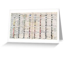 Ancient Colour Chart Greeting Card