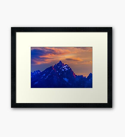 Sunset Over The Grand Teton Framed Print