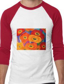 Happy Orange Poppies Men's Baseball ¾ T-Shirt
