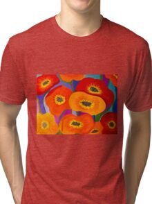 Happy Orange Poppies Tri-blend T-Shirt