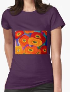 Happy Orange Poppies Womens Fitted T-Shirt