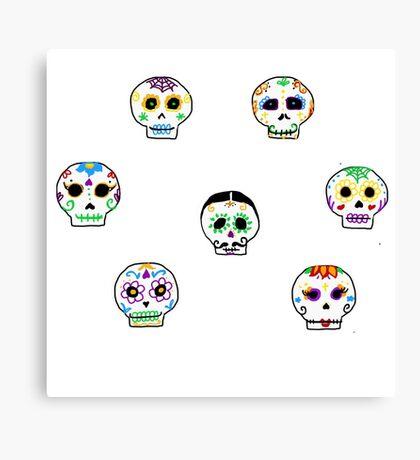 Dia de Los Muertos Sugar Skulls Canvas Print