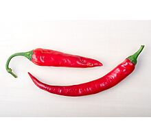 Two red hot chili peppers closeup  Photographic Print
