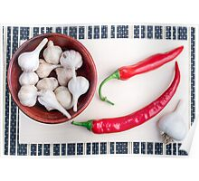 Chilli peppers and garlic in a wooden bowl Poster