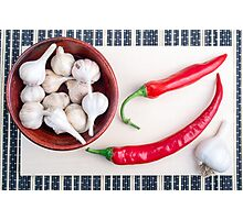 Chilli peppers and garlic in a wooden bowl Photographic Print