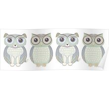 Double Dogs and Owls Blue Poster