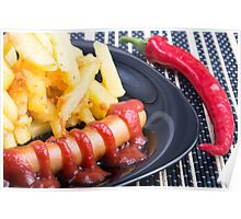 Plate with a portion of fried potatoes Poster