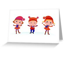 Collection of cute winter children Greeting Card