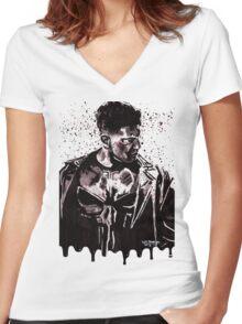 Punisher Ink Splatter Women's Fitted V-Neck T-Shirt
