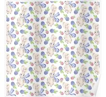 Cute white pink lavender watercolor bunny berries  Poster