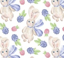 Cute white pink lavender watercolor bunny berries  Sticker
