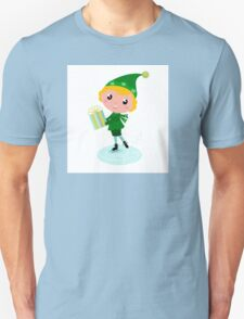 Cute Christmas ice skating Elf with Gift isolated on white Unisex T-Shirt