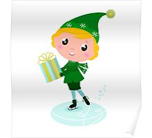 Cute Christmas ice skating Elf with Gift isolated on white Poster