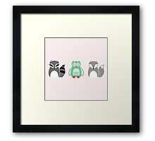 Raccoon, Owl and Fox Funny Animal Cartoon  Framed Print