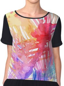 Watercolor abstract palm leaves Chiffon Top