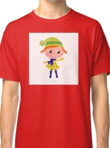 Happy cute little Christmas Child - vector cartoon Illustration Classic T-Shirt
