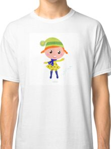 Happy cute little Christmas Child - vector cartoon Illustration Classic T-Shirt