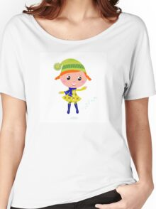 Happy cute little Christmas Child - vector cartoon Illustration Women's Relaxed Fit T-Shirt