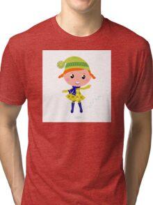 Happy cute little Christmas Child - vector cartoon Illustration Tri-blend T-Shirt