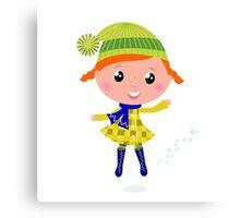 Happy cute little Christmas Child - vector cartoon Illustration Canvas Print