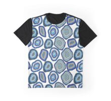Blue agate crystal gemstones Graphic T-Shirt