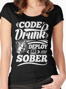 Code drunk; Deploy sober Women's Fitted Scoop T-Shirt