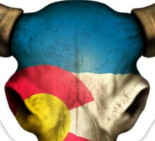Colorado Flag Bull Skull Sticker