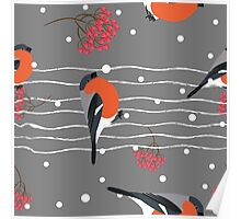 Gray holiday snow winter Poster