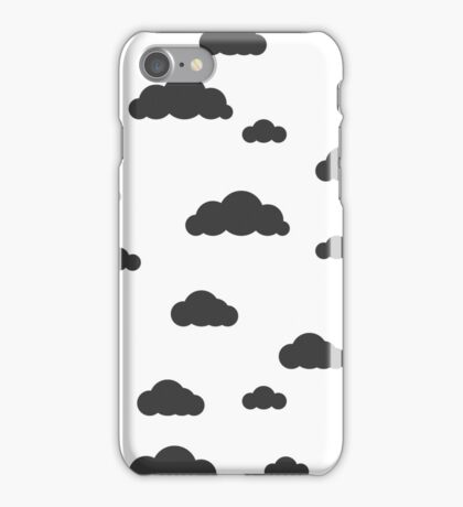 Black clouds on white iPhone Case/Skin